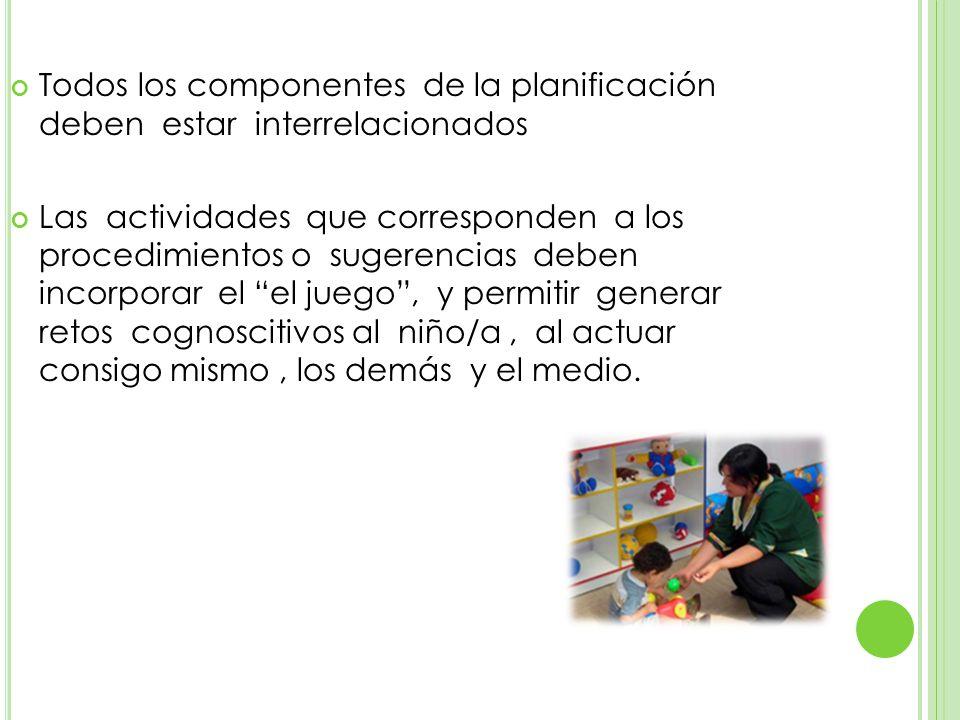 Todos los componentes de la planificación deben estar interrelacionados Las actividades que corresponden a los procedimientos o sugerencias deben incorporar el el juego, y permitir generar retos cognoscitivos al niño/a, al actuar consigo mismo, los demás y el medio.