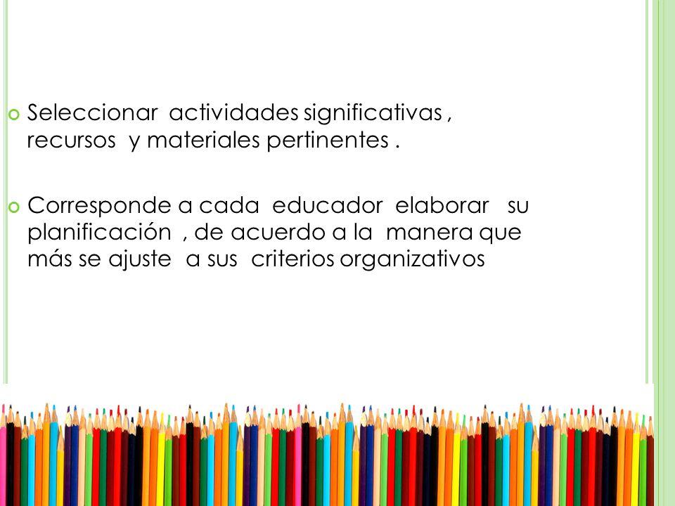 Seleccionar actividades significativas, recursos y materiales pertinentes.