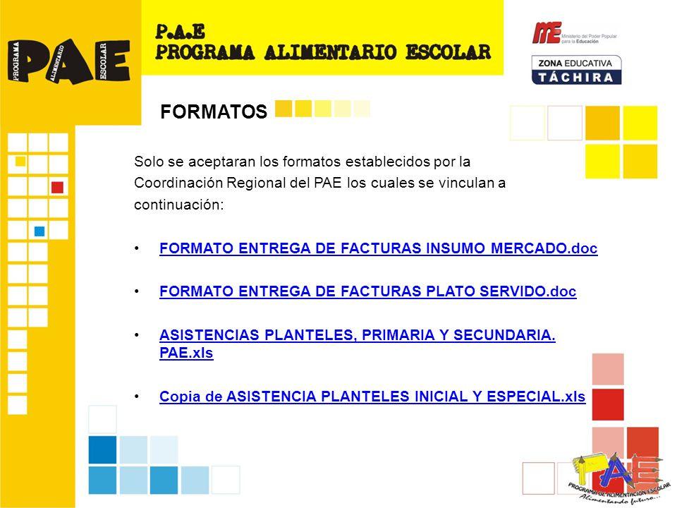 Solo se aceptaran los formatos establecidos por la Coordinación Regional del PAE los cuales se vinculan a continuación: FORMATO ENTREGA DE FACTURAS INSUMO MERCADO.doc FORMATO ENTREGA DE FACTURAS PLATO SERVIDO.doc ASISTENCIAS PLANTELES, PRIMARIA Y SECUNDARIA.
