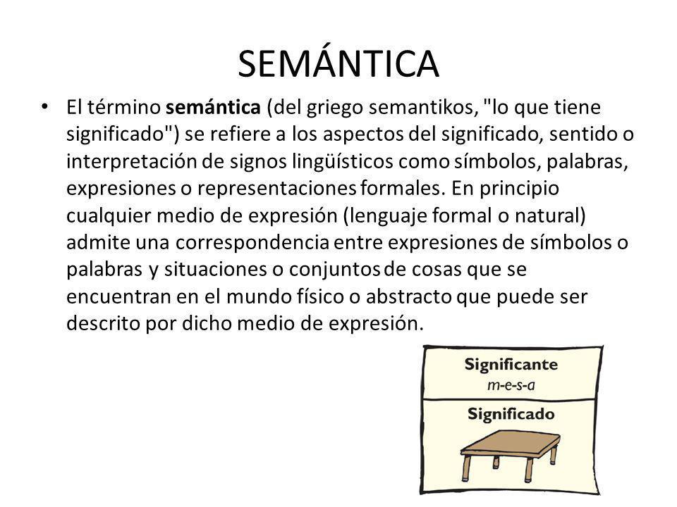 SEMÁNTICA El término semántica (del griego semantikos, lo que tiene significado ) se refiere a los aspectos del significado, sentido o interpretación de signos lingüísticos como símbolos, palabras, expresiones o representaciones formales.