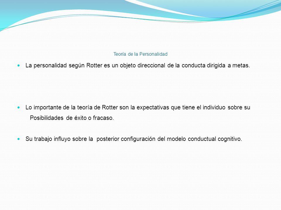 Teoría de la Personalidad La personalidad según Rotter es un objeto direccional de la conducta dirigida a metas. Lo importante de la teoría de Rotter