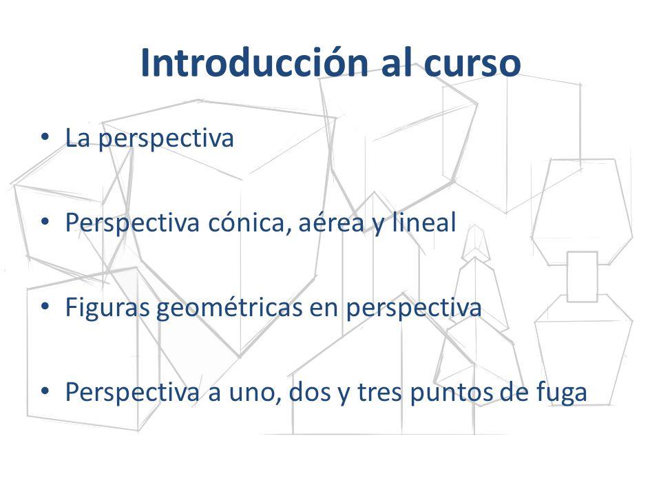 Introducción al curso La perspectiva Perspectiva cónica, aérea y lineal Figuras geométricas en perspectiva Perspectiva a uno, dos y tres puntos de fug