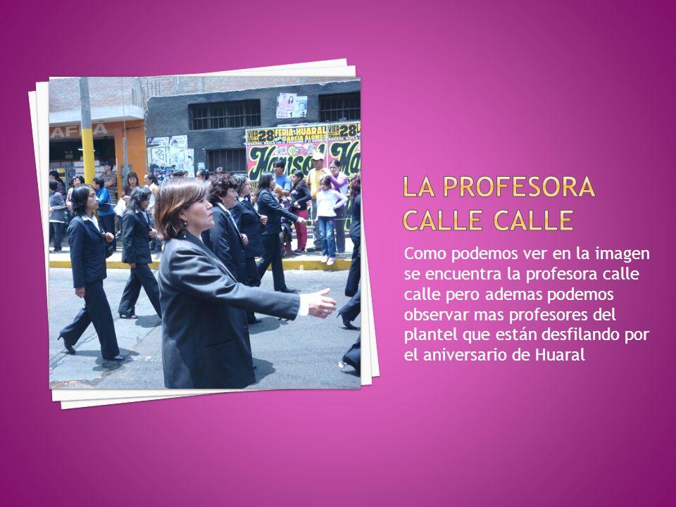 Como podemos ver en la imagen se encuentra la profesora calle calle pero ademas podemos observar mas profesores del plantel que están desfilando por e
