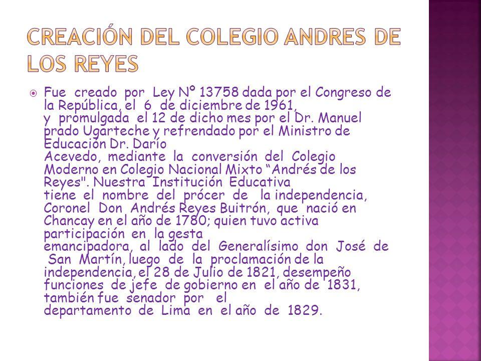 Unidad Escolar, por Resolución Suprema Nº 856.Han sido Directors de la Institución Educativa Pública Andrés de los Reyes los siguientes Docentes: 1962 Dr.