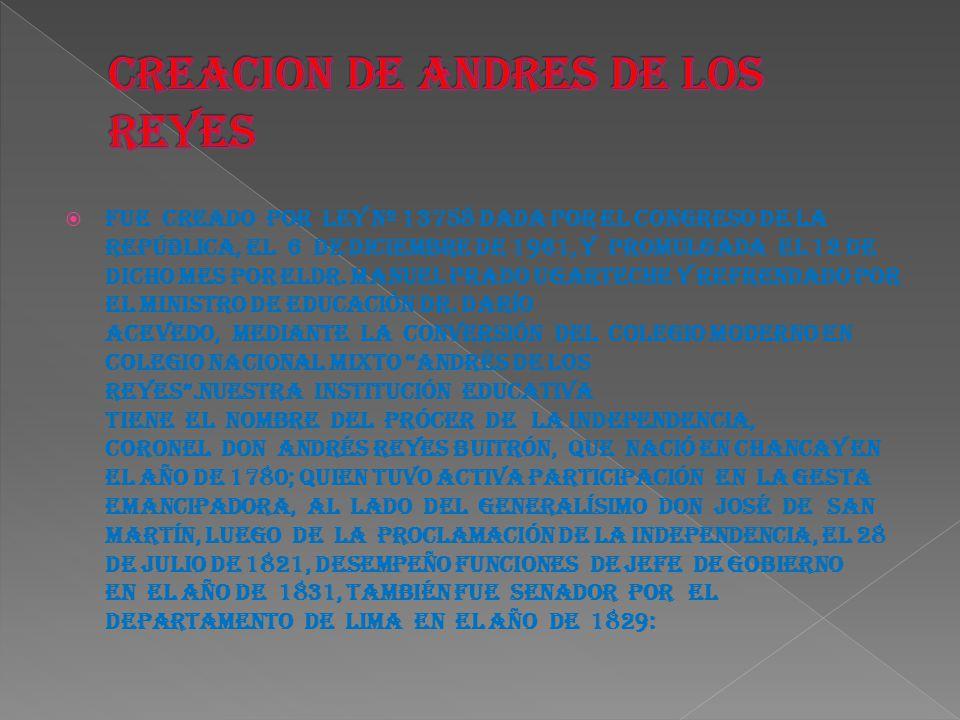 Fue creado por Ley Nº 13758 dada por el Congreso de la República, el 6 de diciembre de 1961, y promulgada el 12 de dicho mes por elDr. Manuel prado Ug