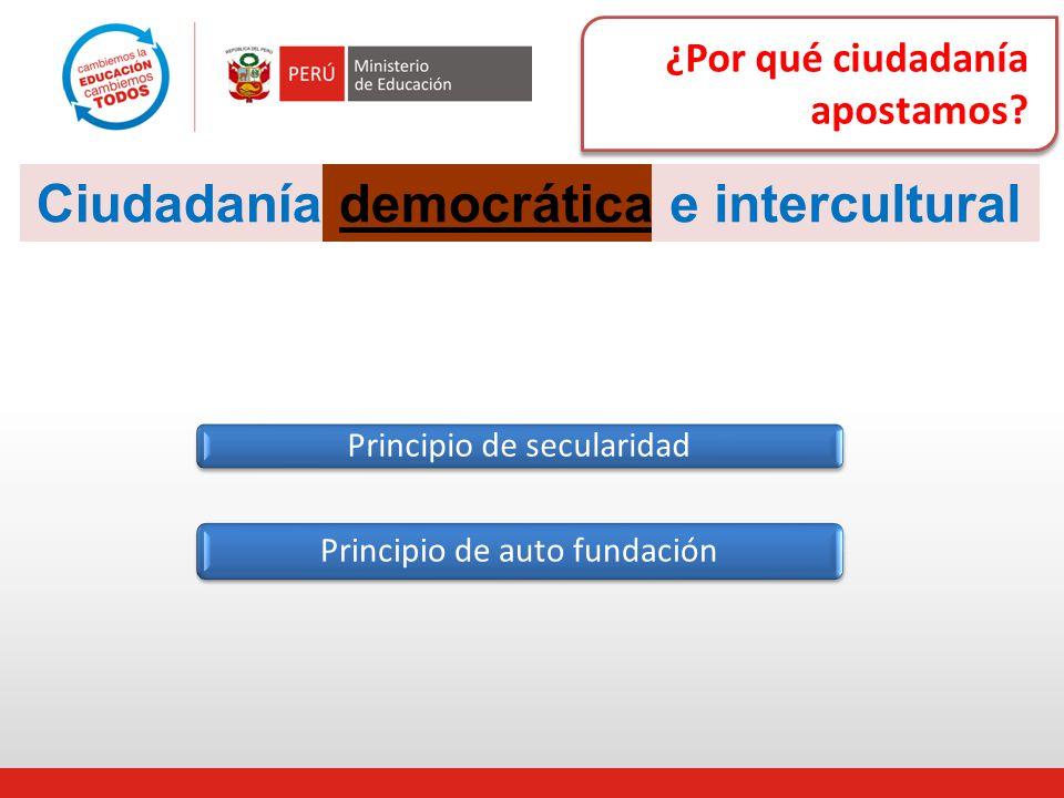 ¿Por qué ciudadanía apostamos? Ciudadaníademocráticae intercultural Principio de secularidad Principio de auto fundación