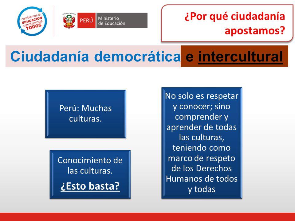 ¿Por qué ciudadanía apostamos? Ciudadaníademocráticae intercultural Perú: Muchas culturas. Conocimiento de las culturas. ¿Esto basta? No solo es respe