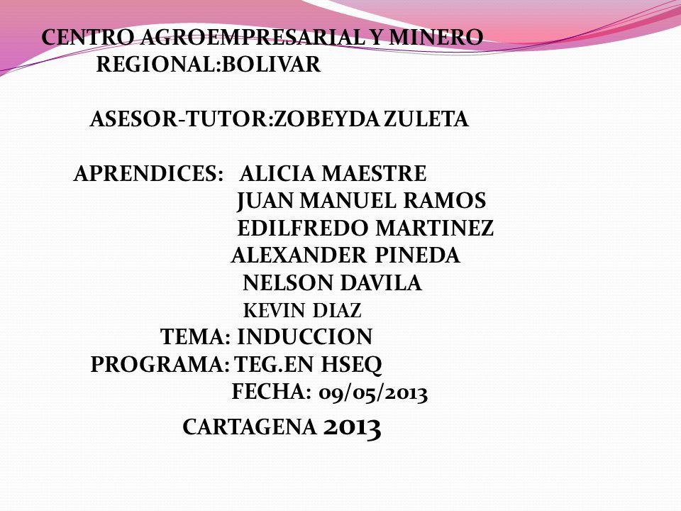 CENTRO AGROEMPRESARIAL Y MINERO REGIONAL:BOLIVAR ASESOR-TUTOR:ZOBEYDA ZULETA APRENDICES: ALICIA MAESTRE JUAN MANUEL RAMOS EDILFREDO MARTINEZ ALEXANDER PINEDA NELSON DAVILA KEVIN DIAZ TEMA: INDUCCION PROGRAMA: TEG.EN HSEQ FECHA: 09/05/2013 CARTAGENA 2013