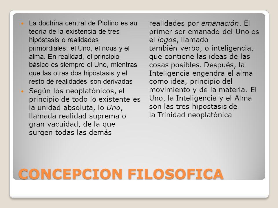 CONCEPCION FILOSOFICA La doctrina central de Plotino es su teoría de la existencia de tres hipóstasis o realidades primordiales: el Uno, el nous y el
