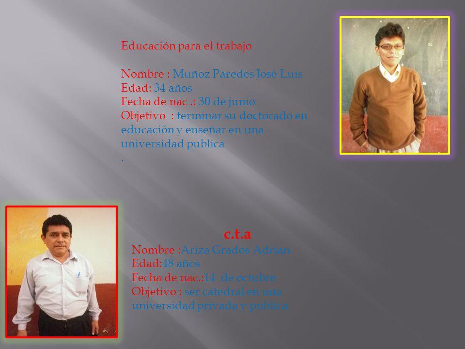 tutoría Nombre: Joel Pierre Madrid Vivanco Edad :31 años Fecha de nac.:30 de jun. Objetivo : poner un instituto o academia de idiomas Educación por el