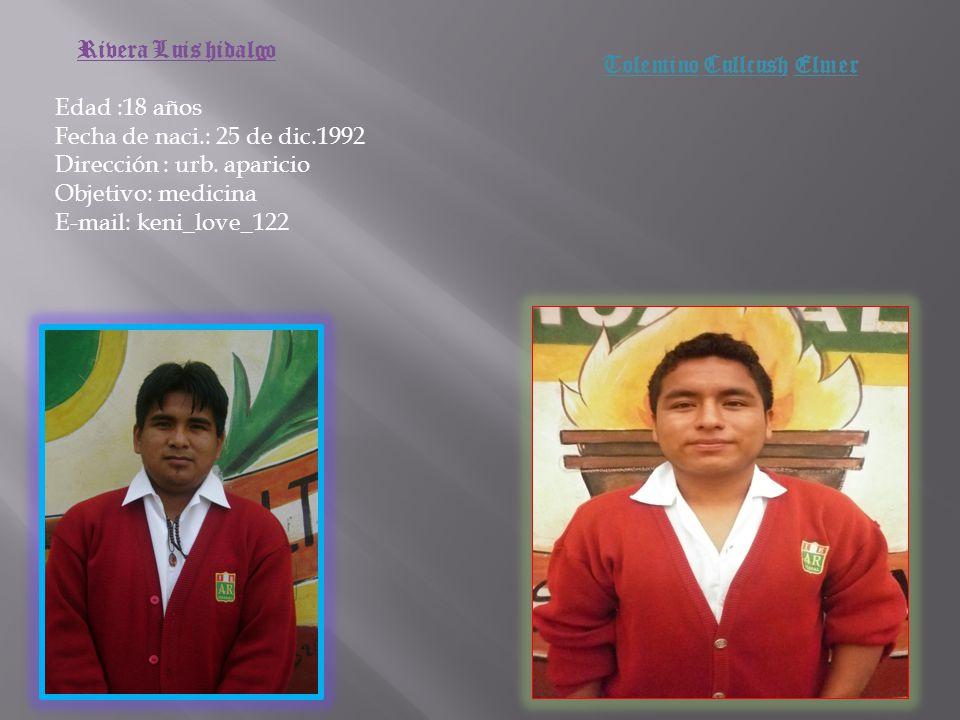 Domínguez bautista Michael Edad :18 años Fecha de naci.: 8 de mayo 1993 Dirección :urb.aparicio Objetivo: ser chef E-mail: cristhian_8_t.l.v@ Teléfono