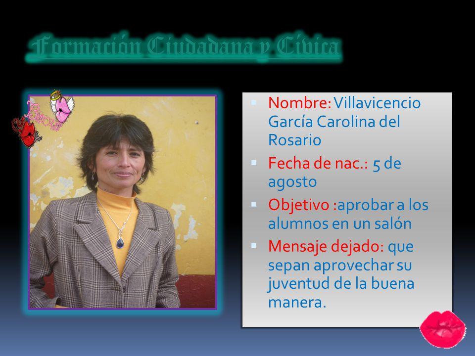 Nombre: Valverde Gamarra Esther Fecha de nac.:8 de julio Objetivo :ser empresarial Mensaje dejado: la confianza en si mismo es el primer secreto del é