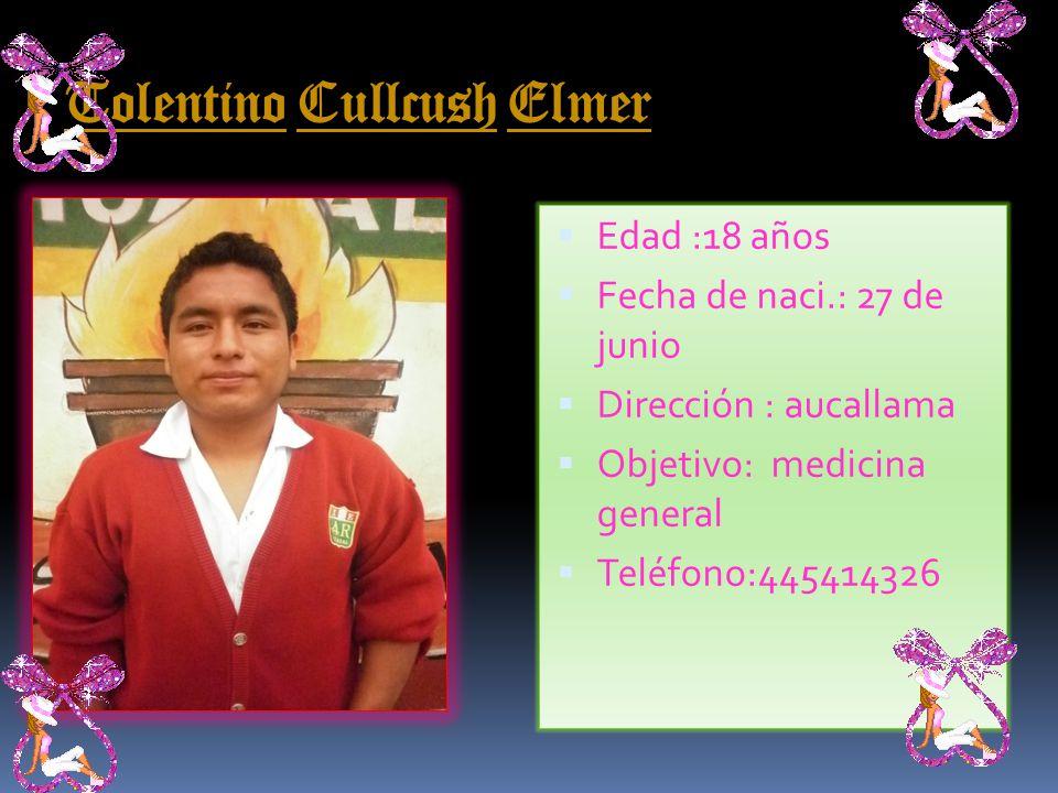 Rivera Luis hidalgo Edad :18 años Fecha de naci.: 25 de dic.1992 Dirección : urb. aparicio Objetivo: medicina E-mail: keni_love_1225@