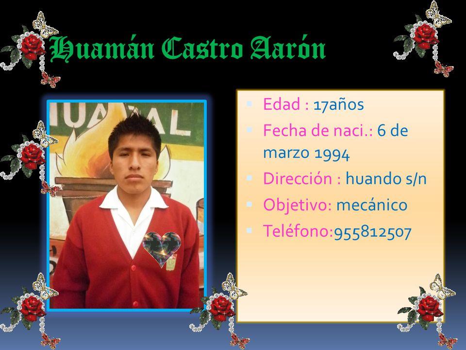 Jara Ríos Juan Alfredo Edad : 18 años Fecha de naci.:29 de agosto de 1993 Dirección : vía el paraíso Objetivo: ingeniero agrónomo E-mail:virgo2996@