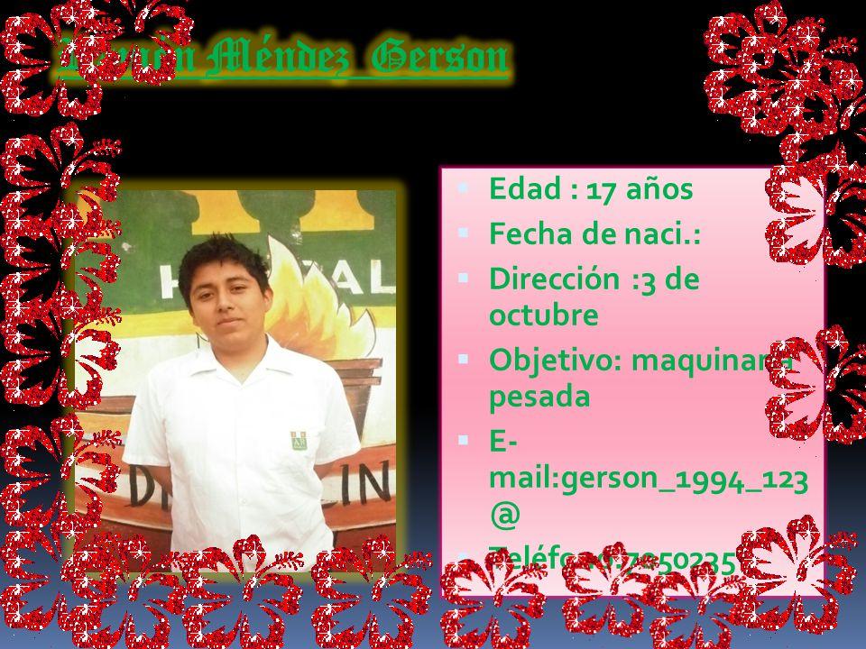 Edad : 18 años Fecha de naci.: 18 junio 1993 Dirección : 3 de octubre Objetivo: cosmetología E-mail: geminis_paloma_1993 Teléfono:7050235