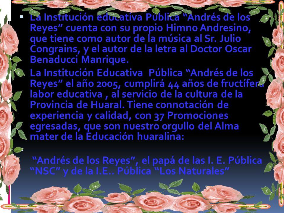 Himno Andresino Esta es la alegre juventud de Andrés de los reyes triunfador que siempre lucha con valor. Por el triunfo del plantel, por la gloria de