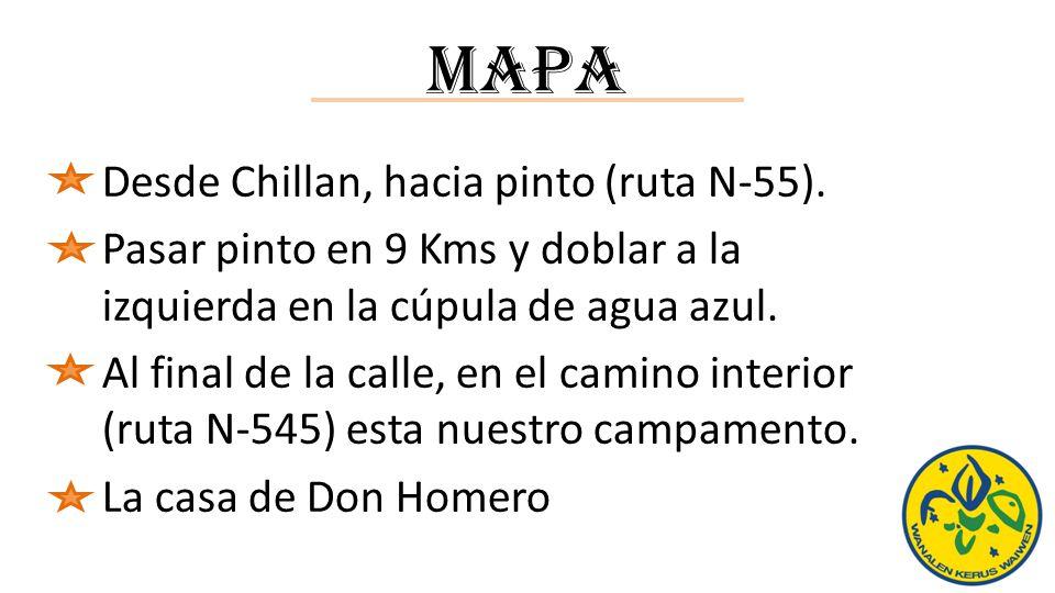 Mapa Desde Chillan, hacia pinto (ruta N-55).