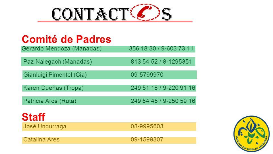 Contact s Comité de Padres Gerardo Mendoza (Manadas) 356 18 30 / 9-603 73 11 Paz Nalegach (Manadas) 813 54 52 / 8-1295351 Gianluigi Pimentel (Cia) 09-5799970 Karen Dueñas (Tropa) 249 51 18 / 9-220 91 16 Patricia Aros (Ruta)249 64 45 / 9-250 59 16 Staff José Undurraga08-9995603 Catalina Ares09-1599307