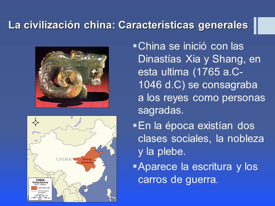 China se inició con las Dinastías Xia y Shang, en esta ultima (1765 a.C- 1046 d.C) se consagraba a los reyes como personas sagradas.