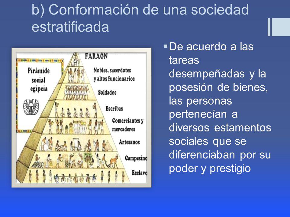 b) Conformación de una sociedad estratificada De acuerdo a las tareas desempeñadas y la posesión de bienes, las personas pertenecían a diversos estamentos sociales que se diferenciaban por su poder y prestigio