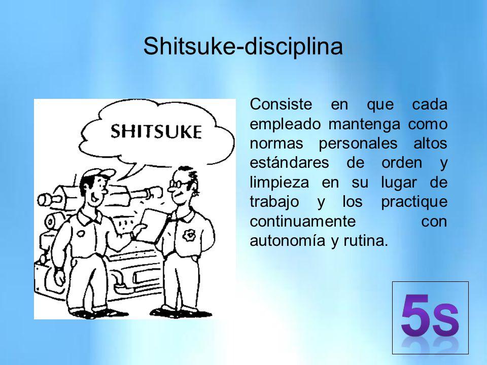 Shitsuke-disciplina Consiste en que cada empleado mantenga como normas personales altos estándares de orden y limpieza en su lugar de trabajo y los pr