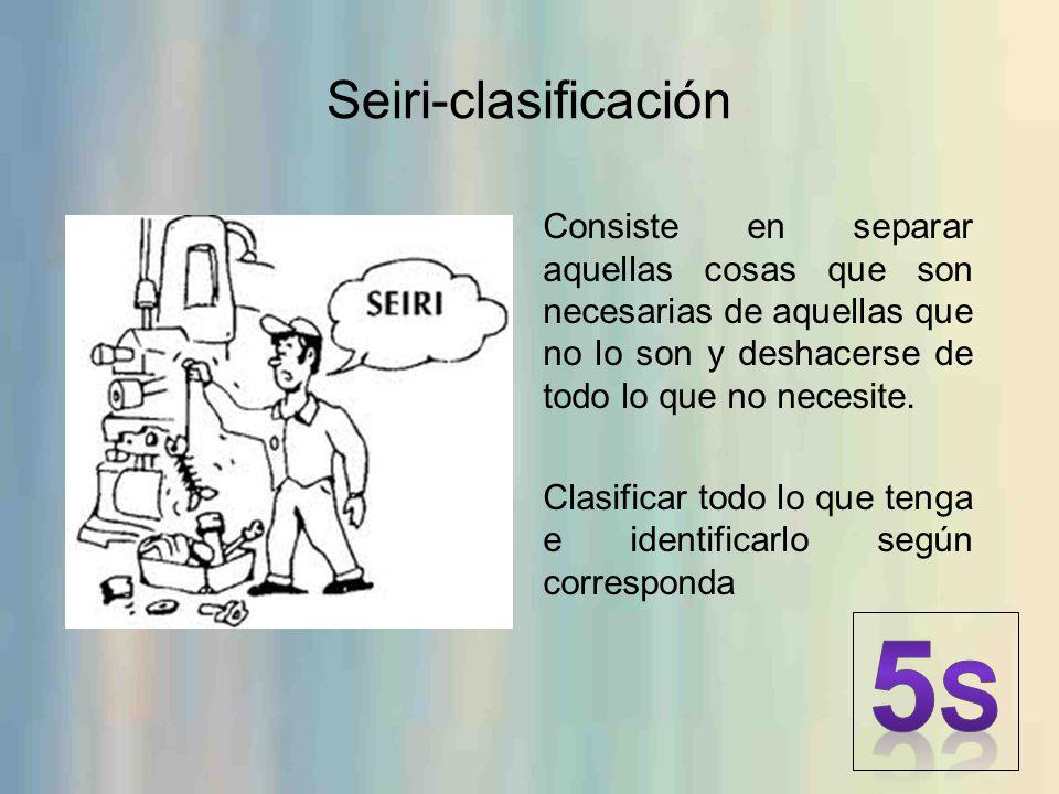Seiri-clasificación Consiste en separar aquellas cosas que son necesarias de aquellas que no lo son y deshacerse de todo lo que no necesite. Clasifica