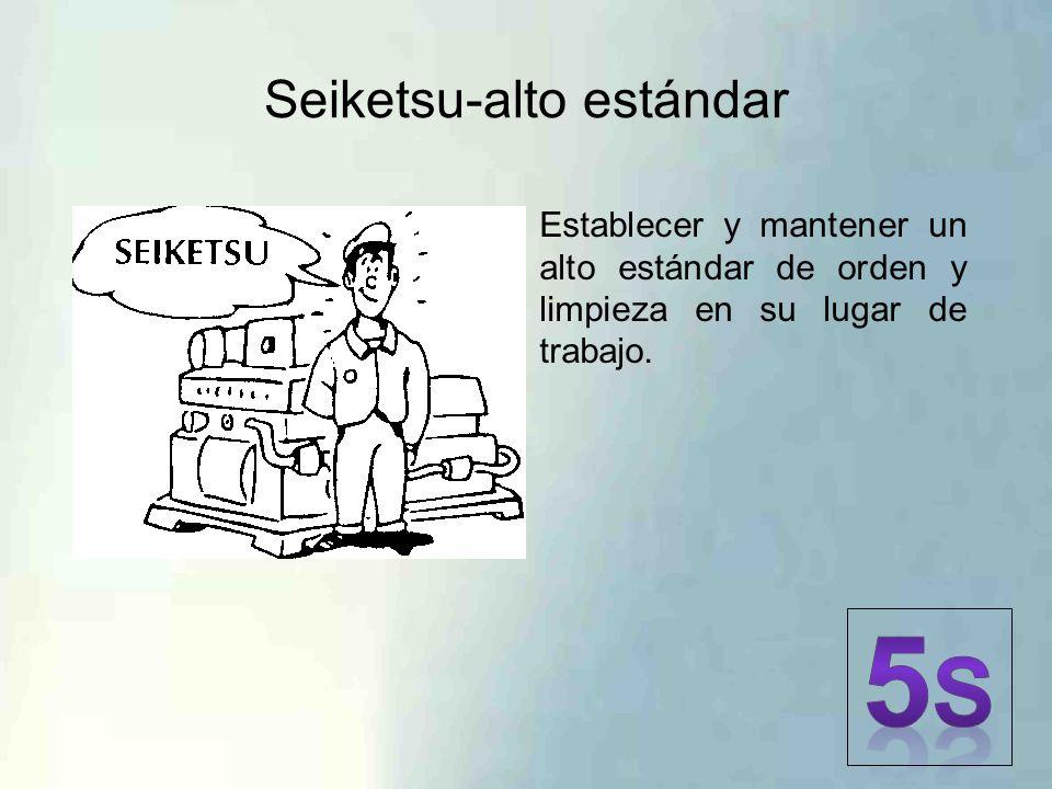 Seiketsu-alto estándar Establecer y mantener un alto estándar de orden y limpieza en su lugar de trabajo.