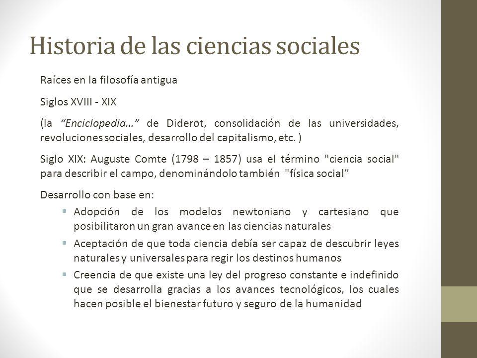 Historia de las ciencias sociales Raíces en la filosofía antigua Siglos XVIII - XIX (la Enciclopedia… de Diderot, consolidación de las universidades,