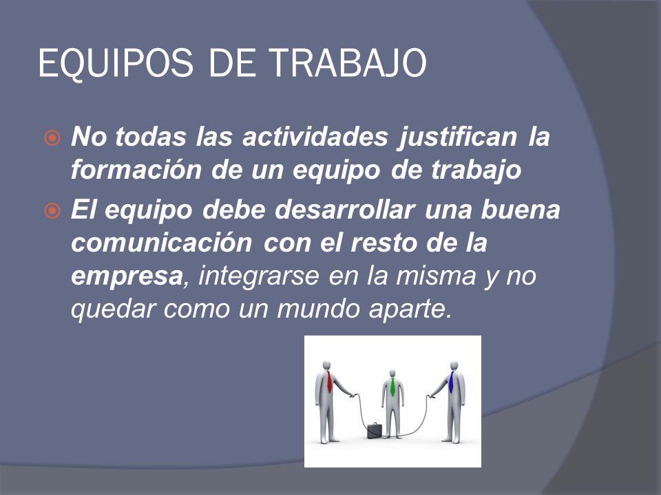 EQUIPOS DE TRABAJO No todas las actividades justifican la formación de un equipo de trabajo El equipo debe desarrollar una buena comunicación con el r