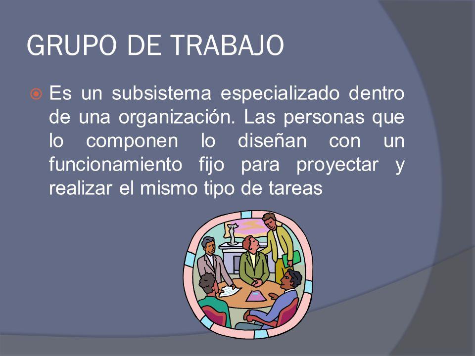 GRUPO DE TRABAJO Es un subsistema especializado dentro de una organización. Las personas que lo componen lo diseñan con un funcionamiento fijo para pr