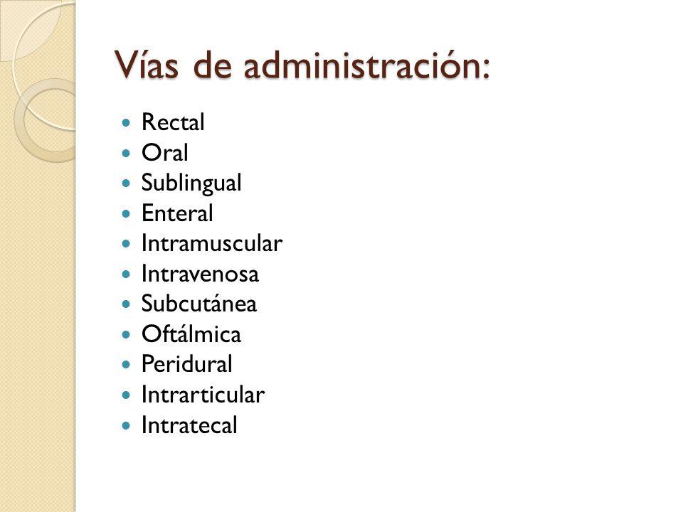 Vías de administración: Rectal Oral Sublingual Enteral Intramuscular Intravenosa Subcutánea Oftálmica Peridural Intrarticular Intratecal