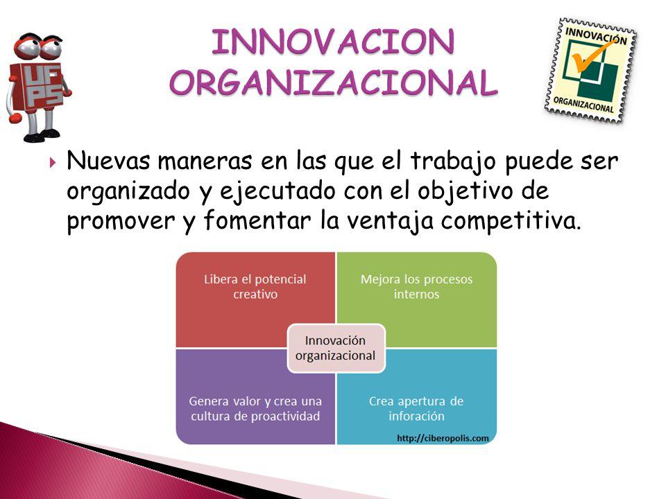 Nuevas maneras en las que el trabajo puede ser organizado y ejecutado con el objetivo de promover y fomentar la ventaja competitiva.