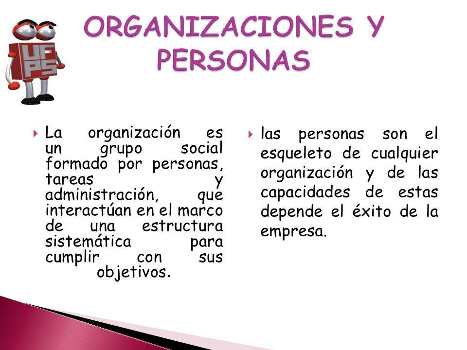 La organización es un grupo social formado por personas, tareas y administración, que interactúan en el marco de una estructura sistemática para cumplir con sus objetivos.