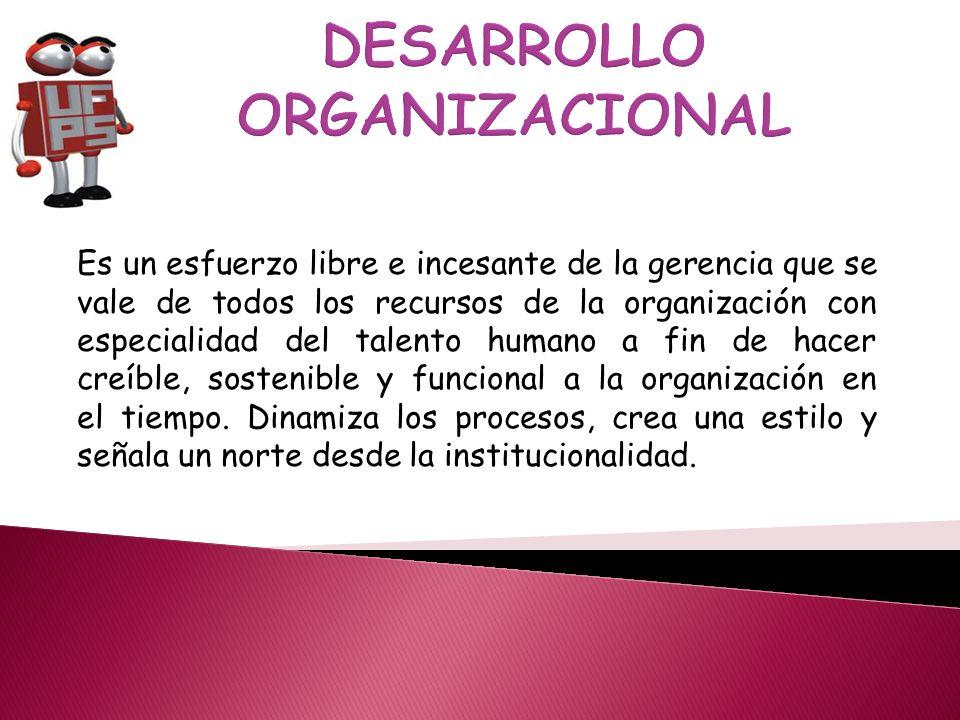 Es un esfuerzo libre e incesante de la gerencia que se vale de todos los recursos de la organización con especialidad del talento humano a fin de hacer creíble, sostenible y funcional a la organización en el tiempo.
