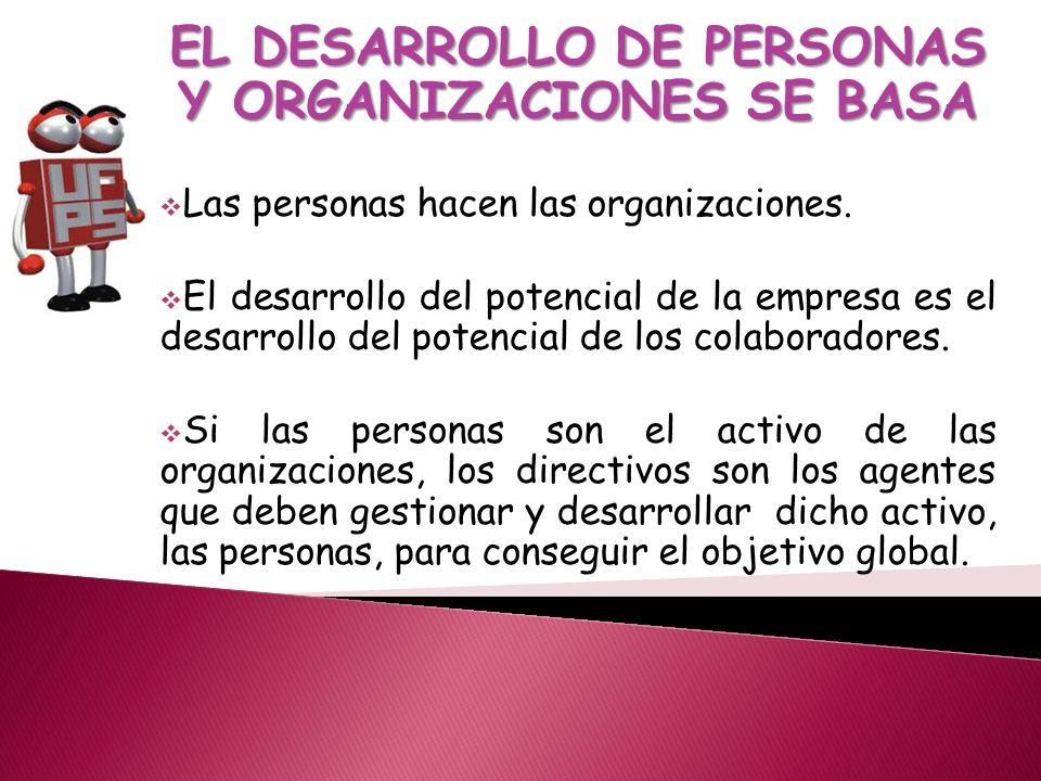 EL DESARROLLO DE PERSONAS Y ORGANIZACIONES SE BASA Las personas hacen las organizaciones.