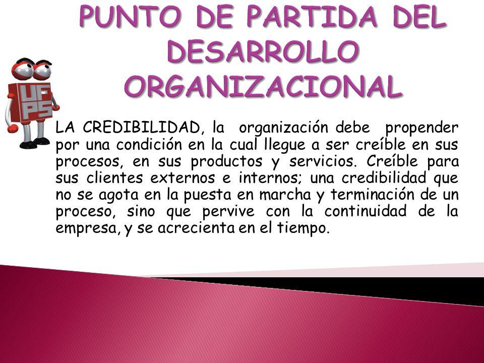 LA CREDIBILIDAD, la organización debe propender por una condición en la cual llegue a ser creíble en sus procesos, en sus productos y servicios.