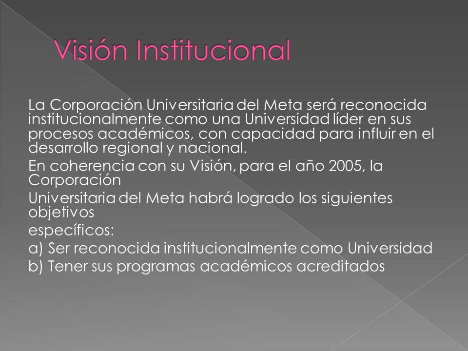 La Corporación Universitaria del Meta será reconocida institucionalmente como una Universidad líder en sus procesos académicos, con capacidad para inf