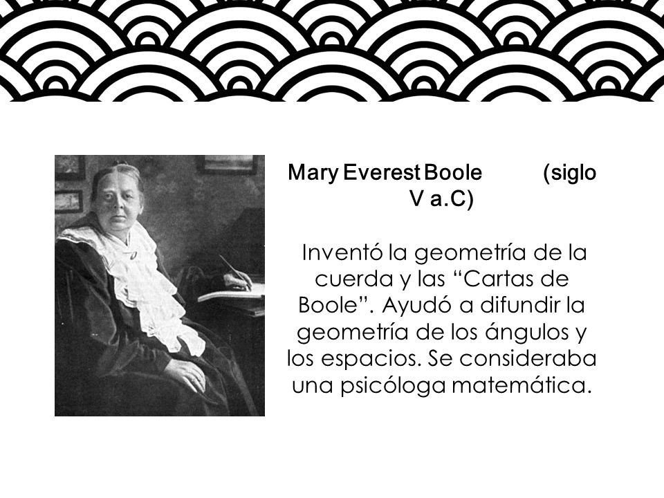 Mary Everest Boole (siglo V a.C) Inventó la geometría de la cuerda y las Cartas de Boole. Ayudó a difundir la geometría de los ángulos y los espacios.
