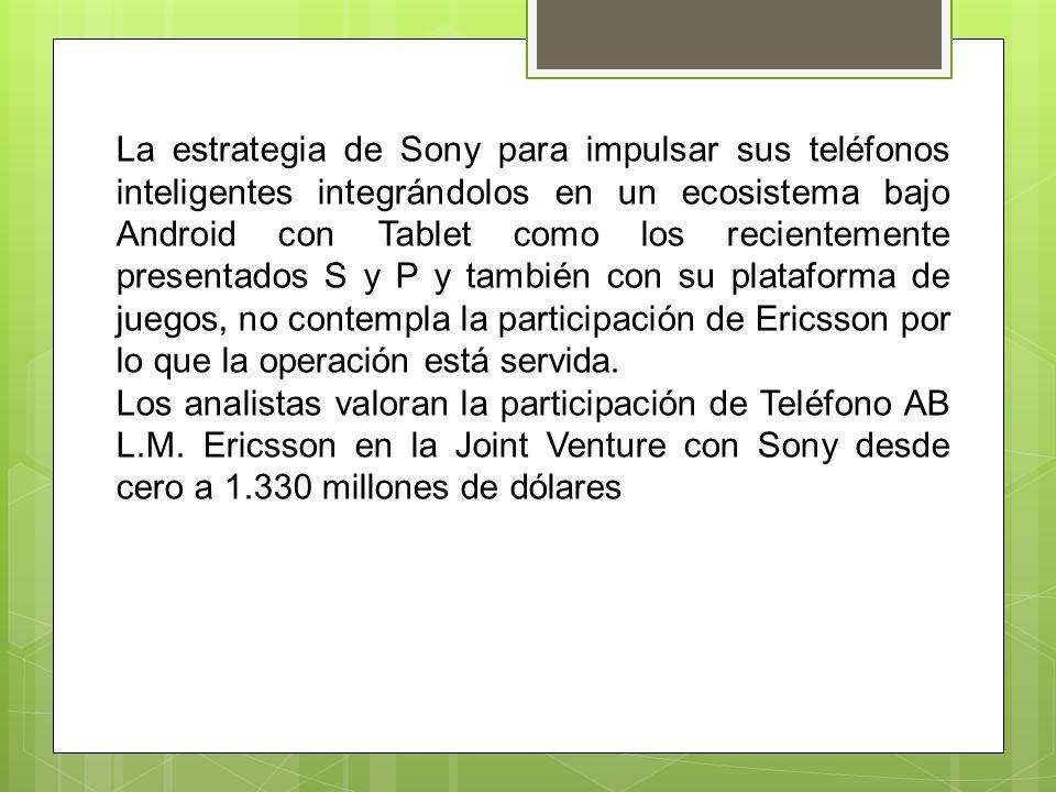 La estrategia de Sony para impulsar sus teléfonos inteligentes integrándolos en un ecosistema bajo Android con Tablet como los recientemente presentados S y P y también con su plataforma de juegos, no contempla la participación de Ericsson por lo que la operación está servida.