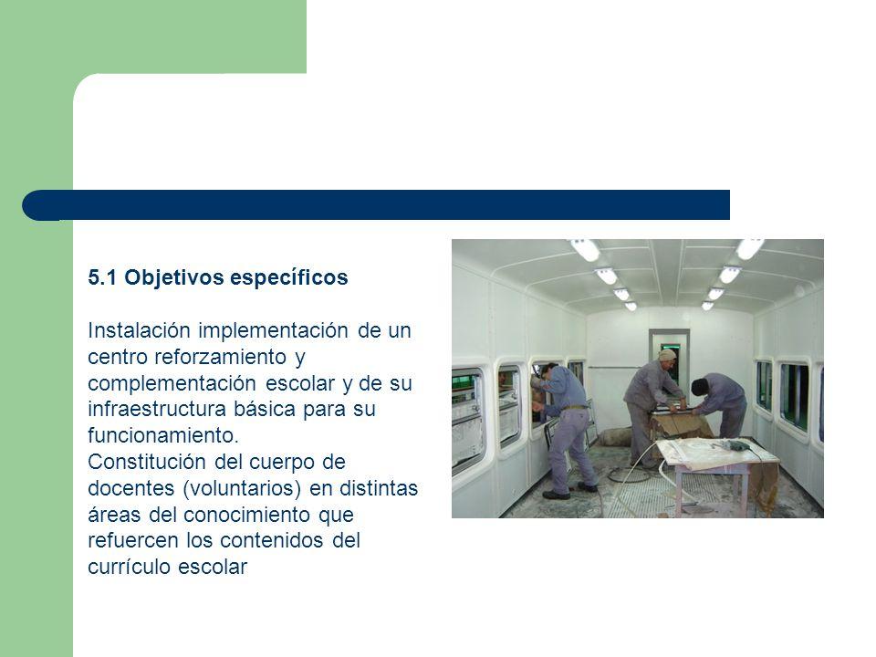 5.1 Objetivos específicos Instalación implementación de un centro reforzamiento y complementación escolar y de su infraestructura básica para su funcionamiento.
