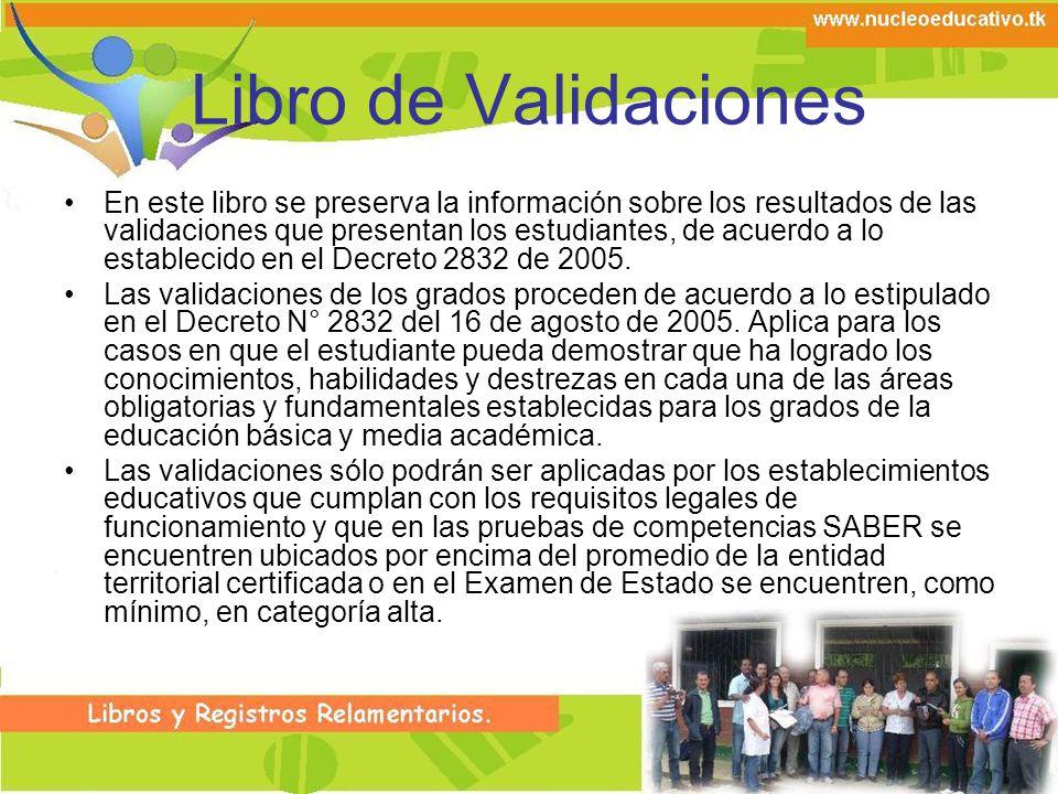 Libro de Validaciones En este libro se preserva la información sobre los resultados de las validaciones que presentan los estudiantes, de acuerdo a lo