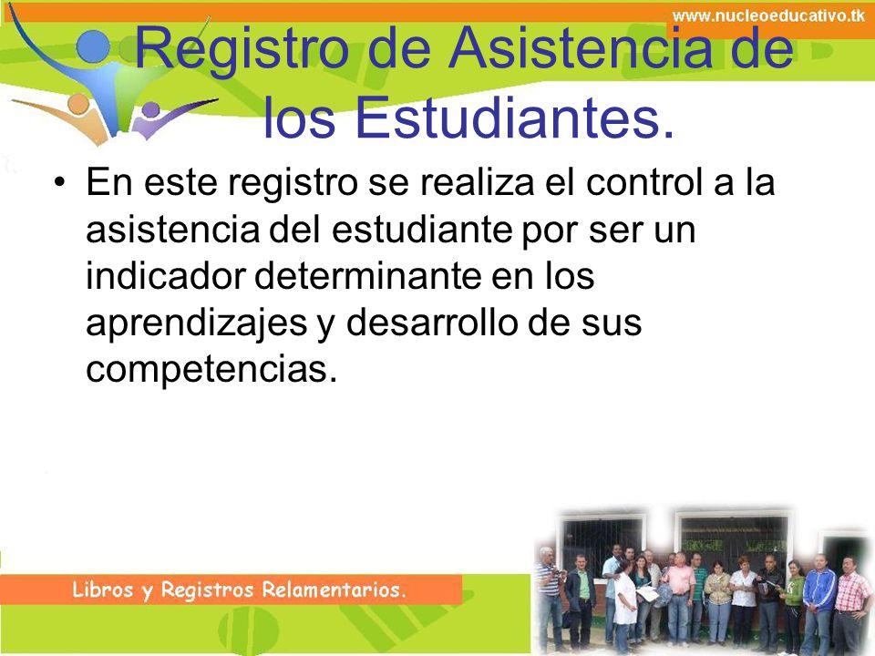 Registro de Asistencia de los Estudiantes. En este registro se realiza el control a la asistencia del estudiante por ser un indicador determinante en