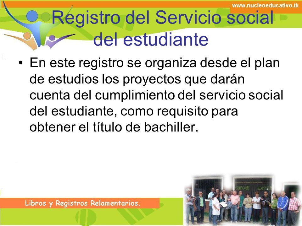 Registro del Servicio social del estudiante En este registro se organiza desde el plan de estudios los proyectos que darán cuenta del cumplimiento del