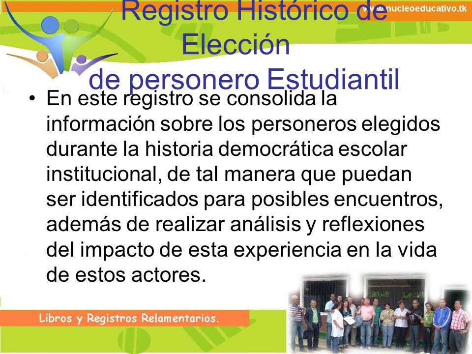 Registro Histórico de Elección de personero Estudiantil En este registro se consolida la información sobre los personeros elegidos durante la historia