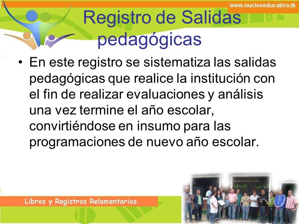 Registro de Salidas pedagógicas En este registro se sistematiza las salidas pedagógicas que realice la institución con el fin de realizar evaluaciones