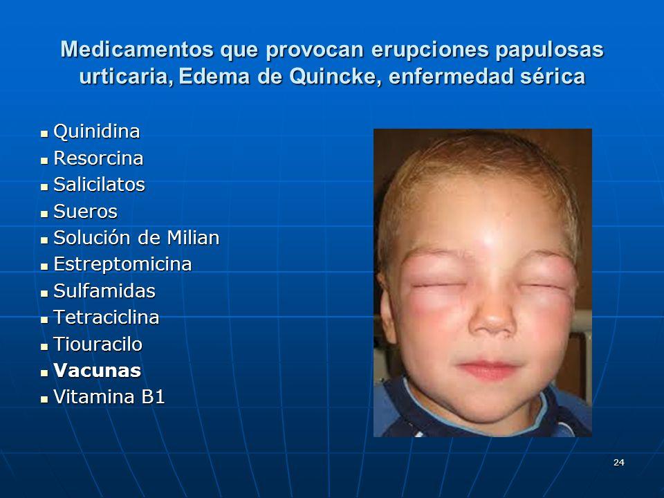 24 Medicamentos que provocan erupciones papulosas urticaria, Edema de Quincke, enfermedad sérica Quinidina Quinidina Resorcina Resorcina Salicilatos S