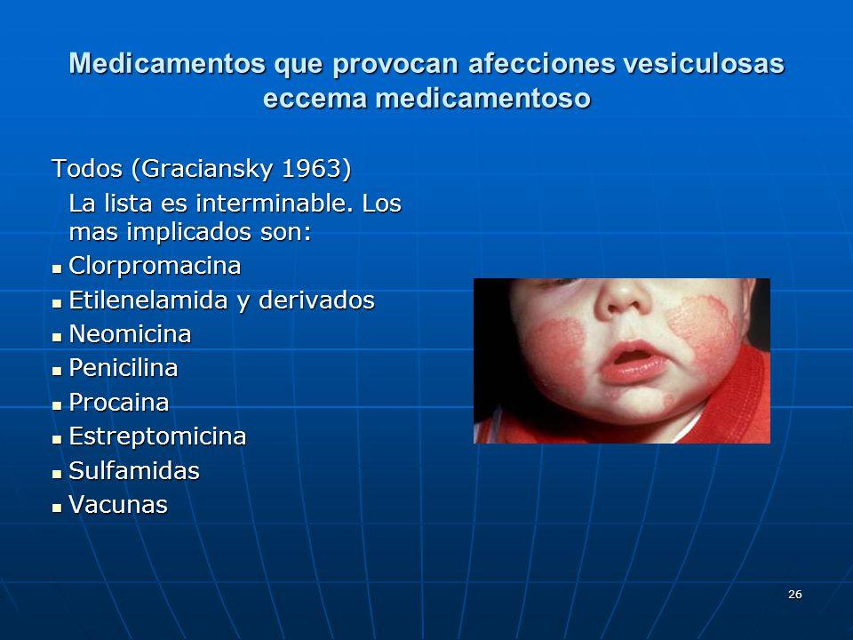 26 Medicamentos que provocan afecciones vesiculosas eccema medicamentoso Todos (Graciansky 1963) La lista es interminable. Los mas implicados son: Clo