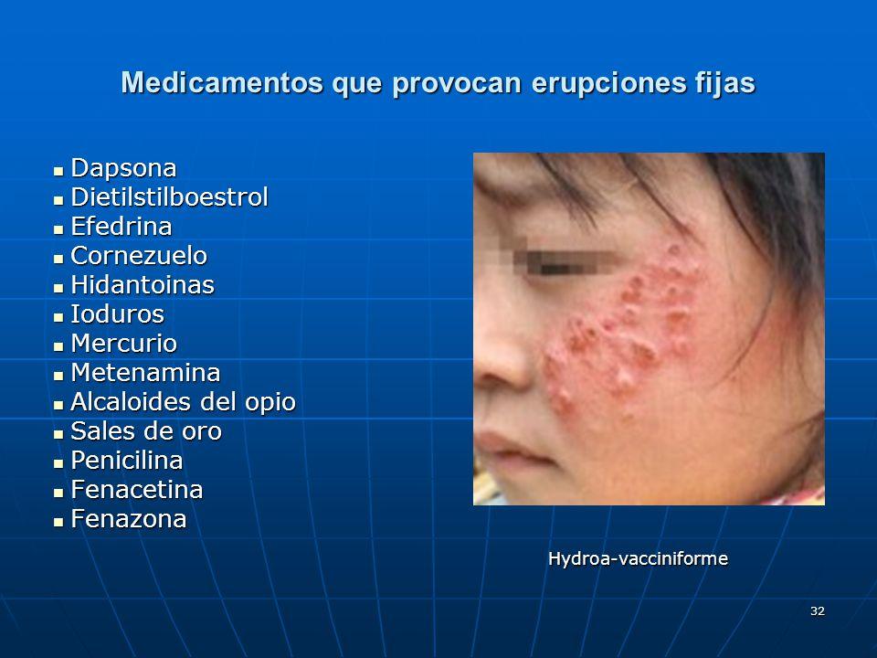 32 Medicamentos que provocan erupciones fijas Dapsona Dapsona Dietilstilboestrol Dietilstilboestrol Efedrina Efedrina Cornezuelo Cornezuelo Hidantoina