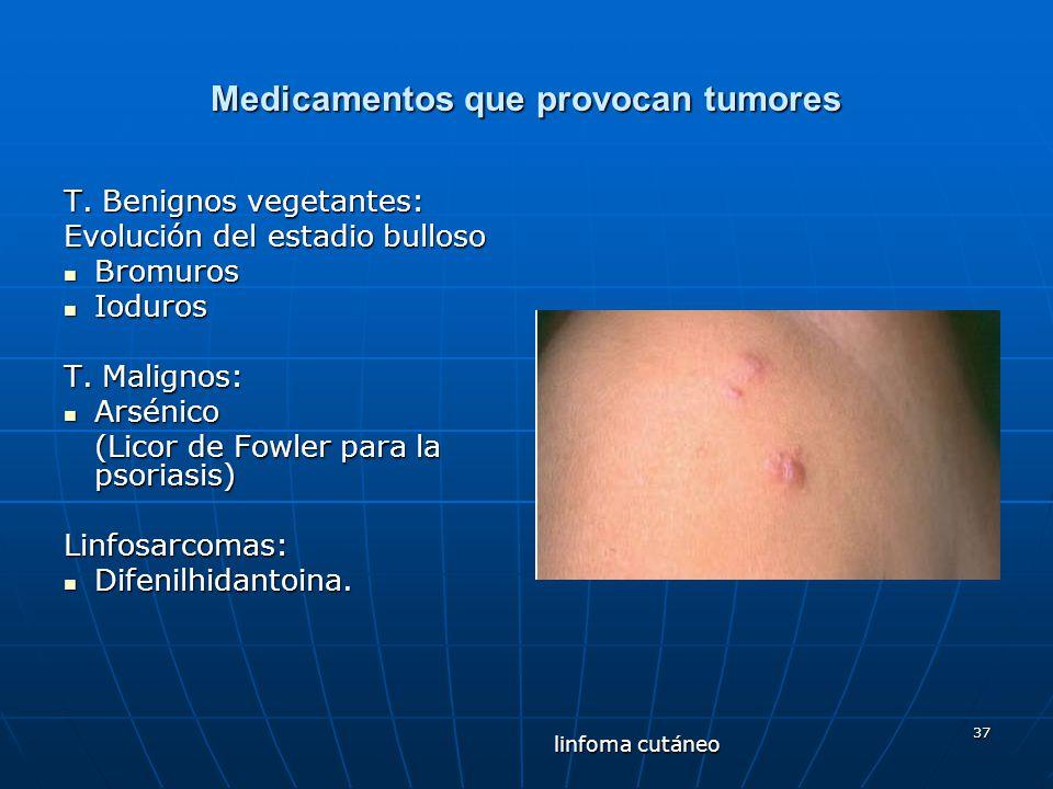 37 Medicamentos que provocan tumores T. Benignos vegetantes: Evolución del estadio bulloso Bromuros Bromuros Ioduros Ioduros T. Malignos: Arsénico Ars