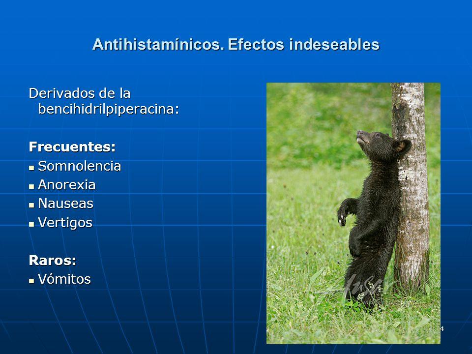 54 Antihistamínicos. Efectos indeseables Derivados de la bencihidrilpiperacina: Frecuentes: Somnolencia Somnolencia Anorexia Anorexia Nauseas Nauseas